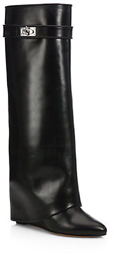 Givenchy Shark Lock Knee-High Leather Wedge Boots