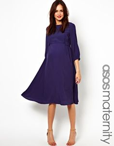 Image 1 ofASOS Maternity Midi Dress With Tab Side. Where were these dresses when I was pregnant!?!