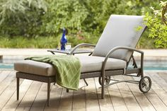 The Posada Chaise Lounge includes an adjustable back and wheels.  A beautiful addition to any outdoor space.  Available at The Home Depot and homedepot.com.