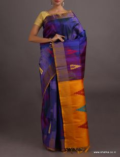 Surabhi Sapphire And Amber Lustrous Pure #IkatSilkSaree