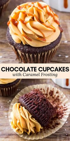 Chocolate Cupcakes with Caramel Frosting Calling all caramel lovers! These chocolate cupcakes with caramel frosting are moist with a soft crumb and delicious chocolate flavor. Then the caramel buttercream is creamy, sweet & completely addictive. Brownie Desserts, Oreo Dessert, Köstliche Desserts, Delicious Desserts, Dessert Recipes, Plated Desserts, French Desserts, Frosting Recipes, Desserts Caramel