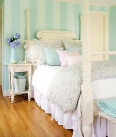 """Love all the pastels in this bedroom and the stripes on the wall paint...would make colors look almost the same for a """"what the"""" kinda look."""