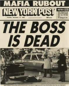 December 16, 1985 - Paul Castellano and Tommy Bilotti murdered by orders of John Gotti.
