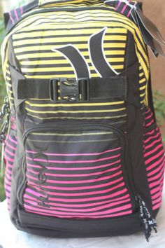 Hurley Pink Yellow Backpack Computer Bag School Supplies Skate Straps New | eBay