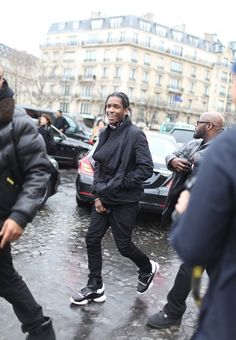 Rapper A$AP Rocky wearing the Rick Owens x adidas Runner Black ...