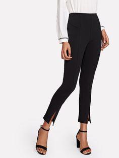 Mid Waist Split Hem Cigarette Pants Women Black Zipper Workwear Pencil Pants Office Ladies Skinny Trousers Black S Shein Dress, Spandex Pants, Cigarette Trousers, Ankle Length Pants, Pullover, Fashion Pants, Fashion Fashion, Fashion Online, Fashion Ideas
