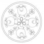 Lamb Mandala for kids to color in preschool and kindergarten. Full-size available for free from www.kigaportal.com