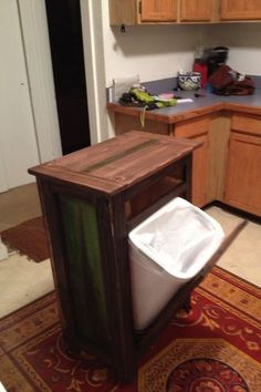 Do It Yourself Kitchen Island | Rolling Kitchen Island with tilt trashcan and Holy cutting board | Do ...