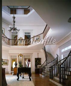 Waverly Plantation, 1852. Columbus, MS. Entrance hall. Charles Pond, architect.