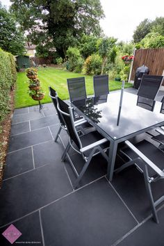 Brazilian Slate Pavers make a fabulous patio surface for entertaining and thanks to non-slip properties work fantastically in all weather Slate Pavers, Slate Patio, Stone Store, Backyard Patio Designs, Outdoor Furniture Sets, Outdoor Decor, Natural Stones, Garden Design, Surface