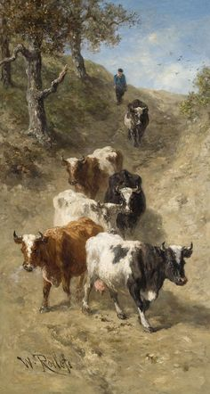 Cows descending from a dune by Willem Roelofs (1822-1897)