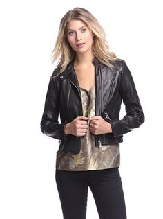 55% OFF Sam Edelman Women's Deanna Double-Zip Leather Jacket (Black)