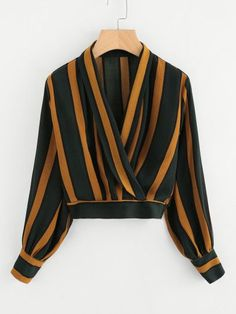 Shop Lantern Sleeve Contrast Striped Wrap Top at ROMWE, discover more fashion styles online. Muslim Fashion, Hijab Fashion, Fashion Dresses, Pretty Outfits, Stylish Outfits, Cute Outfits, Blouse Styles, Blouse Designs, Crop Top Outfits