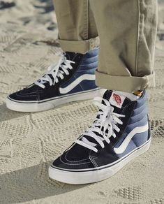 Get out and roam with the classic Vans in Navy/White. Shop our Spring collection now. - buy shoes mens, how to buy mens shoes, mens dres shoes Skate Vans, Sk8-hi Vans, Sneakers Vans, Skate Shoes, Vans Shoes, Vans Hi Sk8, Vans Sk8 High, Vans Men, Vans Sk8 Hi Outfit