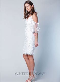 A beautiful midi dress by Grace & Hart. An off shoulder v-neckline style featuring delicate floral embroidered mesh and fitted skirt. White Runway, Off Shoulder Fashion, Fitted Skirt, City Chic, Lace Sleeves, Lace Trim, Strapless Dress, Wedding Details, Wedding Ideas