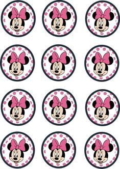 Instant Printable 12 x Minnie Mouse Birthday Cupcake Toppers Minnie Mouse 1st Birthday, Minnie Mouse Theme, Baby Mouse, Pink Birthday, Birthday Gifts, Happy Birthday, Cupcakes Decoration Disney, Birthday Decorations, Mini Mouse Cupcakes