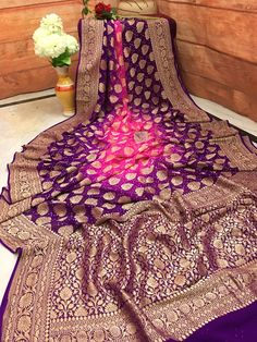 Impresseive Pink and Purple Color Designer Saree South Silk Sarees, Blue Silk Saree, Purple Saree, Organza Saree, Chiffon Saree, Saree Dress, Half Saree Function, Wedding Saree Collection, Saree Wedding