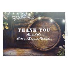 Rustic country wedding invitations engraved wood the elegant oak barrel rustic barn wedding thank you stopboris Images