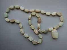 Vintage Egyptian Soapstone Scarab Necklace by WhimsicalFig on Etsy