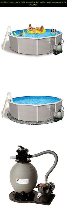 Belize Round 52 Inch Deep, 6 Inch Top Rail Metal Wall Swimming Pool