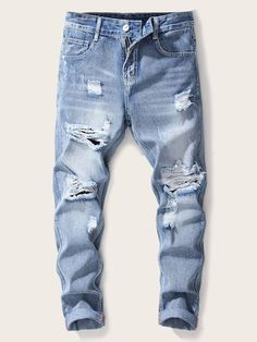 Shop Guys Ladder Distressed Jeans at ROMWE, discover more fashion styles online. Mens Clothing Sale, Clothes For Sale, Men Clothes, Fly Gear, Ripped Jeans Men, Casual Outfits, Men Casual, Men Style Tips, Distressed Jeans