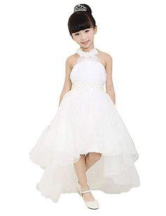Yizyif robe fille sans manches v cou mousseline de soie for Robes de mariage de plage pour les enfants