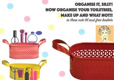 Organise it silly! toiletries, make up, cosmetics organising solutions by #thewhistlingnest! #baskets, #trays www.facebook.com/thewhistlingnest