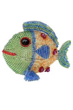 """The sturdy wire frame is sculpted by hand then woven with a rainbow of colorful acrylic beads by skilled artisans in community uplift programs in rural villages of southeast Asia. At 10"""" x 7"""" x 8"""" this bright and cheerful Fish is an ideal baby gift substantial enough to make a statement small enough to easily find a home on a dresser or night stand.Takes one 4 watt night light bulb (not included).  Fish Night Light by Beadworx. Home & Gifts - Home Decor - Lighting Michigan"""
