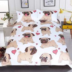 Buy BeddingOutlet Hippie Pug Bedding Set Queen Size Animal Cartoon Bed Set for Kids Cute Bulldog Print Duvet Cover Home Bedclothes . Cute Bedding, Linen Bedding, Bed Linens, Full Duvet Cover, Duvet Cover Sets, Amor Pug, Hippie Bedding, Bohemian Bedding, Bed Sets