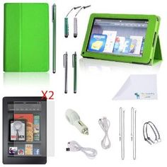 Amazon.com: The Friendly Swede 16 Pieces Mega Bundle for Kindle Fire - PU Leather Case With Stand Function and Magnetic Closure, 1 Premium Stylus Pen, 2 Medium Stylus Pen, 2 Short Stylus Pen, 2.0 Amp Car Charger, 2 USB Cable-3 and 6 feet, 2x 15-Inch Elastic Tether Strings / Lanyards, 2x 4-Inch Tether Strings / Lanyards, 2 Screen Protectors-Clear and Anti-Glare- Microfiber Cleaning Cloth-Green: Computers & Accessories