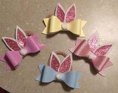 Pink Bunny Ear Bow Easter by GlitterByNicole on Etsy