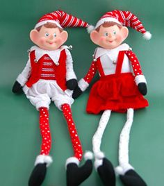"""22"""" Red and White Christmas Pixies Set of 2 The JWM Collection http://www.amazon.com/dp/B00PKD0ZD4/ref=cm_sw_r_pi_dp_0Hmzub12A8V59"""