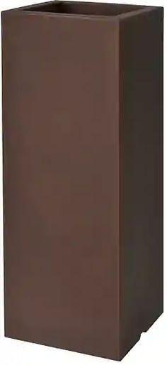 PLUST - Designový květináč KUBE HIGH SLIM, 25 x 25 x 70 cm - hnědý Slim