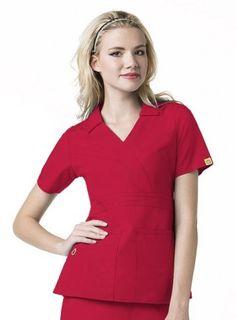 Red Origins Women's Sporty Stitched Collared Top | #nurse #scrubs | #medapparel | #winkscrubs | #medical #uniforms