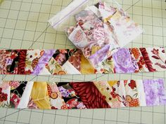 Foundation paper pieced strips with adding machine tape (inspired by Peggy Martin)