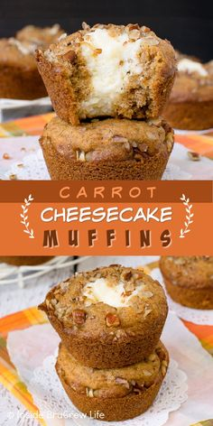 Carrot Cheesecake Muffins - the creamy cheesecake center in these soft carrot cake muffins makes them taste absolutely amazing. Great recipe to make for breakfast, snack, or dessert! Carrot Cake Cheesecake, Carrot Cake Muffins, Hawaiian Sweet Rolls, Sweet Carrot, Muffin Recipes, Great Recipes, Food To Make, Carrots, Food And Drink