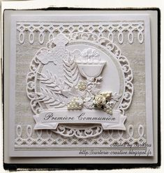 Dies R Us Challenge: Challenge 21 - Monochromatic First Communion Cards, Holy Communion Cakes, First Communion Invitations, First Holy Communion, Fancy Fold Cards, Folded Cards, Scrapbooking, Scrapbook Cards, Confirmation Cards