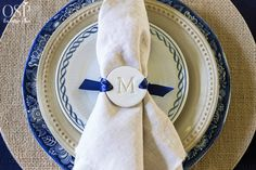 Thankful At Home | Monogrammed Clay Tag Napkin Ring from onsuttonplace.com