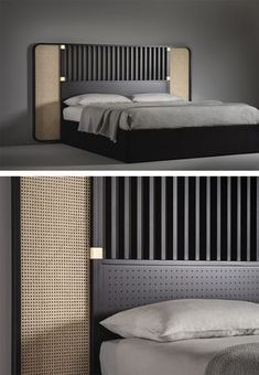 Bringing their highly architectural approach to the world of furniture for the first time, Storagemilano – the architecture and design studio founded by Barbara Ghidoni, Marco Donati and Michele Pasin Bed Headboard Design, Bedroom Bed Design, Headboards For Beds, Headboard Ideas, Design Furniture, Bedroom Furniture, Bedroom Decor, Double Bed Designs, Suites