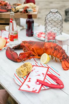 Place Setting from the Lobster Bake Party Styled by The Revelry Co Lobster Bake Party, Lobster Dinner, Dinner Party Table, Lobster Bisque, Seafood Boil, 50th Party, Holiday Tables, Place Setting, Buffets