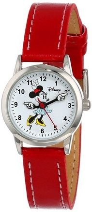 cool Women's MN1023 Minnie Mouse White Dial Red Strap Watch - For Sale