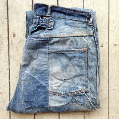 #40s #denim patched #buckleback #jeans #raggedythreads