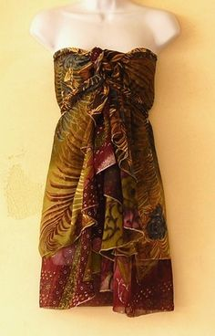 "Wrap Dress Magic Skirt Maternity Multi Wear Dark Green Tropical Embellished 34"" | eBay"