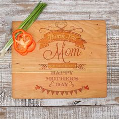 This one of a kind Mother's Cutting board is the perfect gift for any mother for Mother's Day.