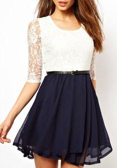 Multicolor Patchwork Lace Hollow-out Belt Chiffon Dress