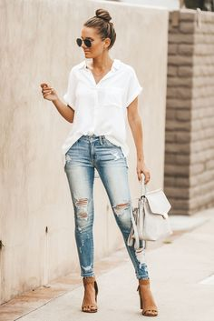 Simple summer outfits - 56 Chic and Easy Summer Outfit Ideas Page 2 of 5 Simple Summer Outfits, Casual Work Outfits, Mode Outfits, Spring Outfits, Trendy Outfits, Fashion Outfits, Fashion Trends, Outfit Summer, Party Outfits