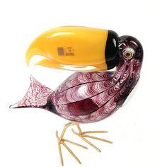 Licio Zanetti Toucan Bird Murano Art Glass Italian Sculpture #murano  #muranoglass #vintagemurano