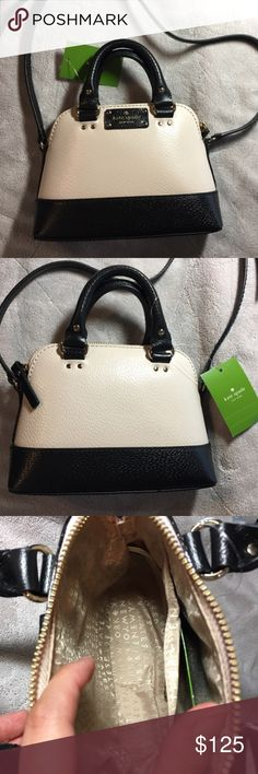 "Kate Spade Mini Rachelle Wellesley Crossbody Bag Gorgeous New with Tags  Kate Spade Mini Rachelle Wellesley Crossbody Bag - 100 % AUTHENTIC - STYLE: WKRU3711  - MSRP: $198.00 (TV)  - COLOR: Pebble (Beige) and Black - SIZE: VERY SMALL  DESCRIPTION: - Leather with matching trim - Light gold tone hardware - Kate Spade New York logo on front - Top Zipper closure - Kate Spade New York signature fabric lining - Interior one open pocket - Long strap with 17""-22"" drop - Measurements Approximately…"