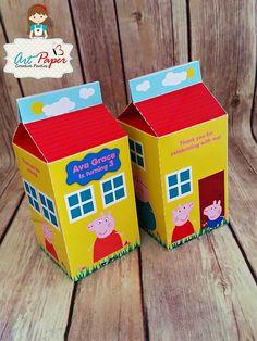 Cerdo de peppa caja Favor personalizada casa (Qty 10) - galinha pintadinha, Olaf, granja, despreciable me & cualquier temas.