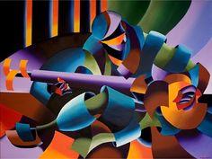modern day sculpture artists   modern cubism painting of a guitar player by artist mark webster